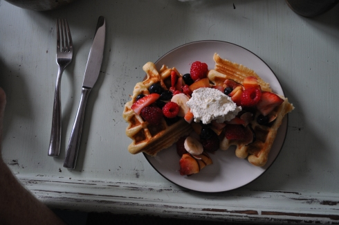 Full plate of waffles