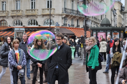Bubbles on the street in Paris