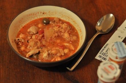 Chicken, quinoa, and green olive stew