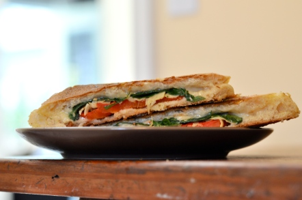 arugula, artichoke, roasted red pepper, and pepper jack panini