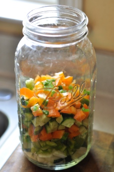 diced peppers and cucumbers