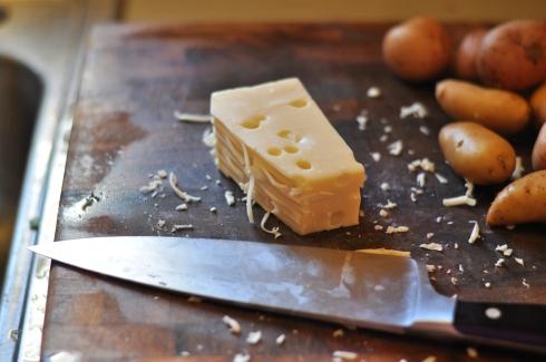Swiss cheese and potatoes
